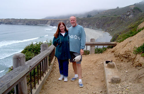 photo of Tim and Sheryl somewhere in Big Sur, CA